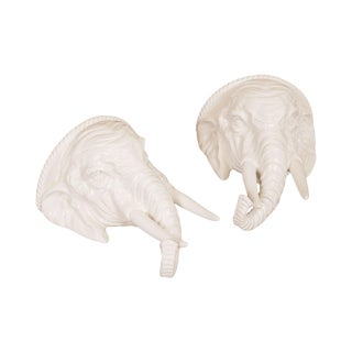 Hollywood Regency Vintage Italian Ceramic Pair White Elephant Wall Shelves For Sale