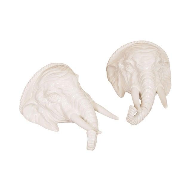 Hollywood Regency Vintage Italian Ceramic Pair White Elephant Wall Shelves For Sale