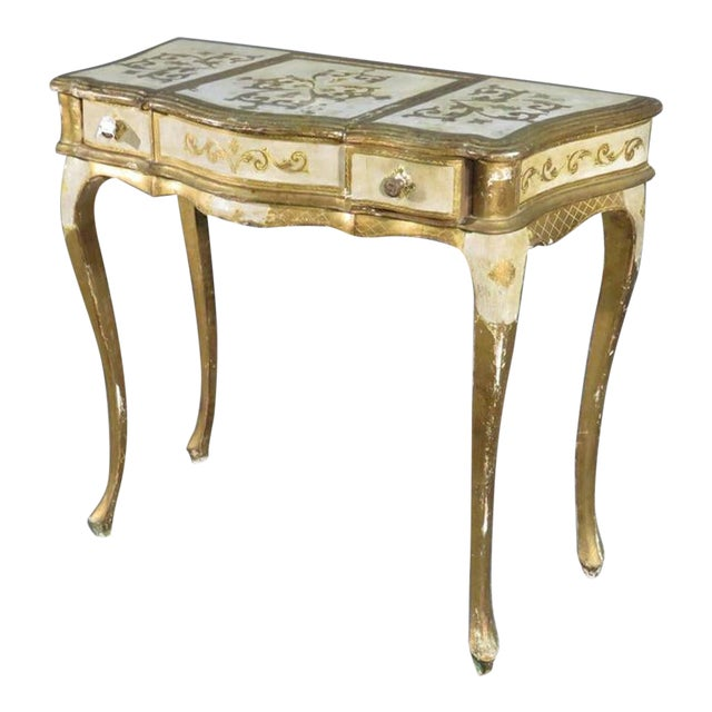 Florentine Italian Gilded Gold Leaf Ladies Mirrored Vanity Makeup Table C1920 For Sale