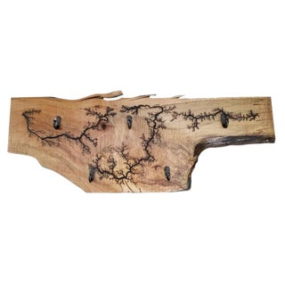 Lichtenberg Fractal Art Solid Maple Wall Coat Rack For Sale