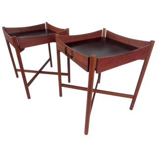 Pair of Vintage Modern Collapsible Teak Tray Tables For Sale