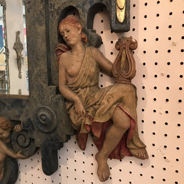 Glass Hand Carved Lambasted Mirror For Sale - Image 7 of 9