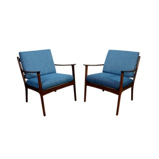 1950s Vintage Ole Wanscher Lounge Chairs- A Pair For Sale