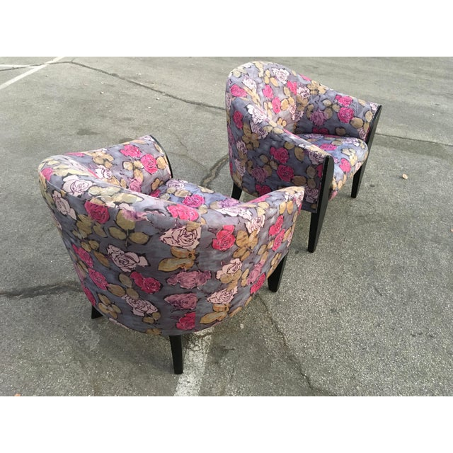 Ebony 1990s Post Modern Club Chairs - a Pair For Sale - Image 8 of 10