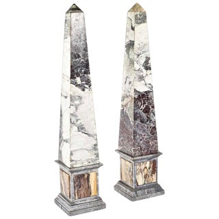 Pair of Monumental Pietra Dura Grand Tour Marble Obelisks, 19th Century For Sale