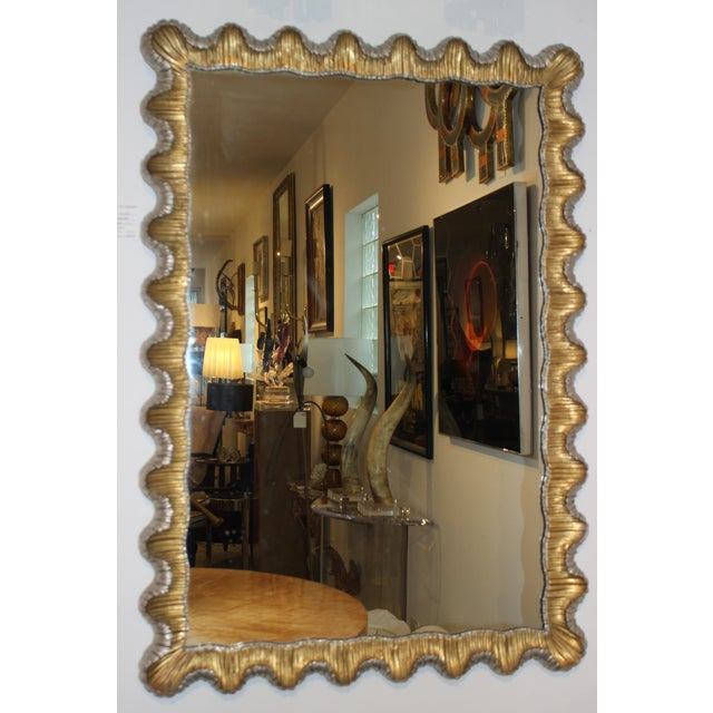 Metal Florentine Mirror Gold and Silver Leaf Scalloped Wood Frame Hollywood Regency 1930s For Sale - Image 7 of 8