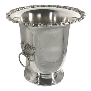 Poole Silver Plated Champagne Bucket Lion Handled Urn Wine Chiller Vase For Sale