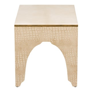 Sarreid Ltd. Gold Croc Side Table/Stool For Sale
