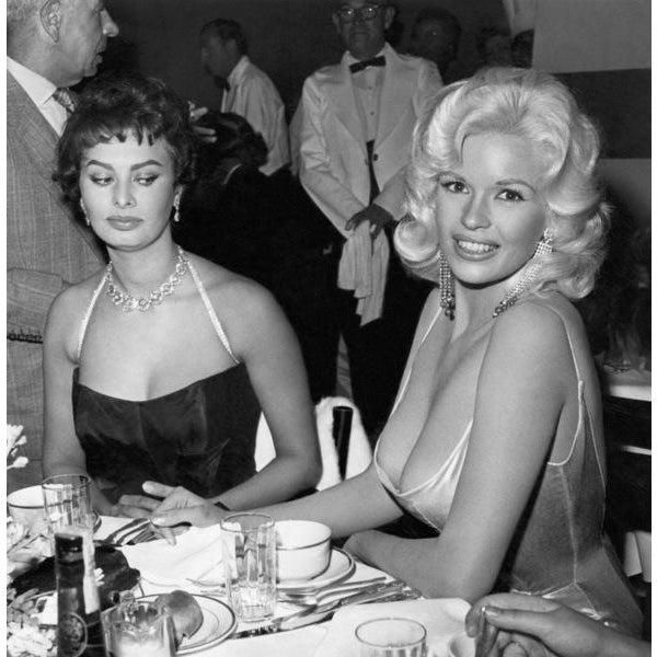 Jayne Mansfield & Sophia Loren Photograph Print by Joe Shere, 1957 For Sale