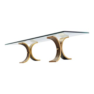 Bronze Sculptural Coffee Table with Glass Top France 1970 For Sale