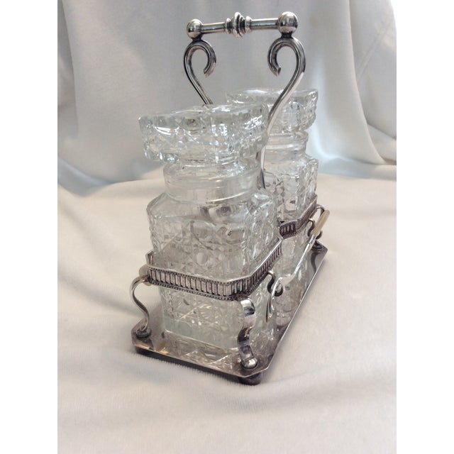 Antique Glass Condiment Set - A Pair For Sale - Image 5 of 5
