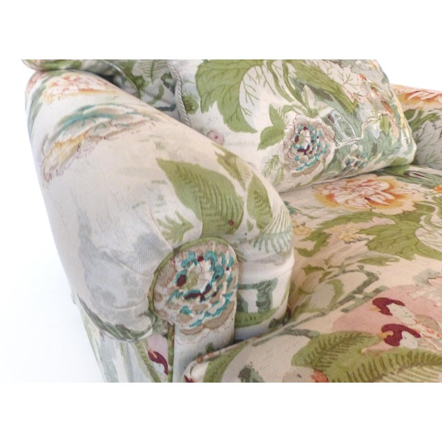 Turquoise Overscale Pair of Chinoiserie Upholstered Club Chairs With Down Cushions For Sale - Image 8 of 12