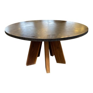 Custom Round Cement + Teak Dining Table For Sale