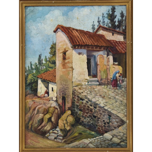 Abstract Early 1900s Italian Mediterranean Village Oil Painting For Sale - Image 3 of 10