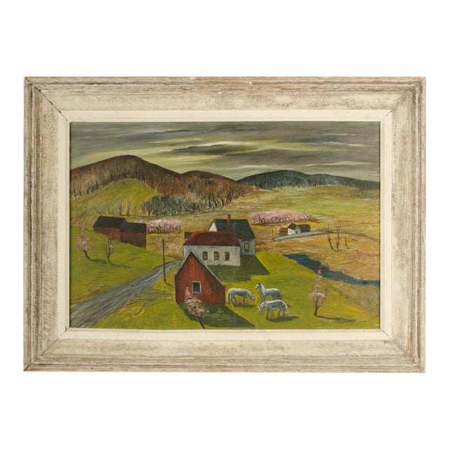 """Mid 20th Century """"Peach Orchard in the Valley"""" Landscape Oil Painting by Charles Harsanyi, Framed For Sale"""