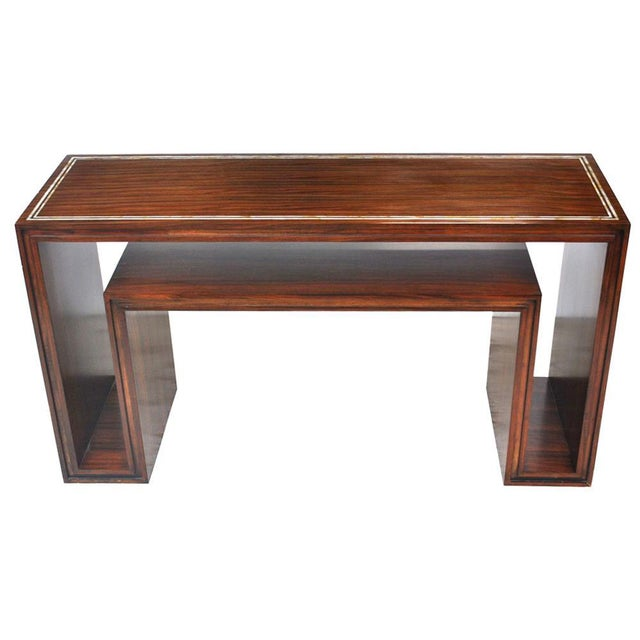 Wood Modern Rosewood With Mother of Pearl Entry Sofa Table For Sale - Image 7 of 7