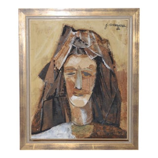 Joaquim Sarriera (Spain, 20th C.) Original Collage Mixed Media Portrait C.1962 For Sale