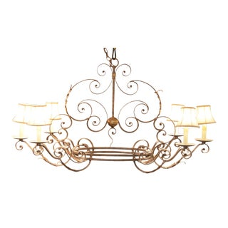 Currey & Company French Style Wrought Iron 6 Light Chandelier For Sale