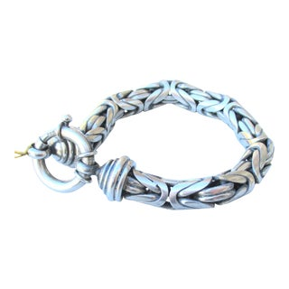 Fine Mexican Sterling Silver Woven Link Chain For Sale
