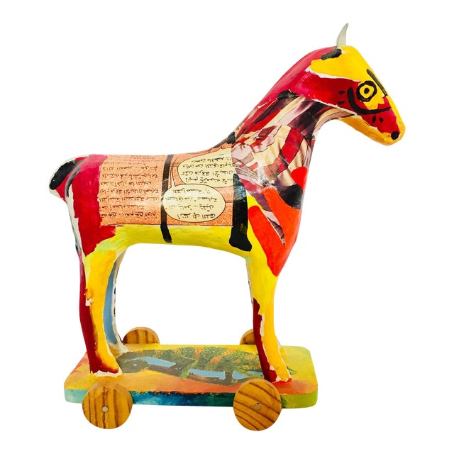 Papier Mâché Sculpture of a Horse in Polychrome Arabic Writing For Sale