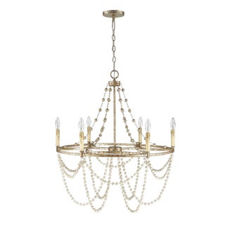 Isabelle 6 Light Chandelier, Distressed Silver Leaf and Driftwood White For Sale