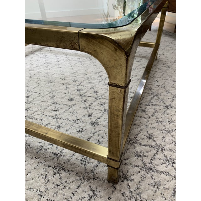 1970s Hollywood Regency Mastercraft Brass and Glass Square Cocktail Table For Sale In New York - Image 6 of 13