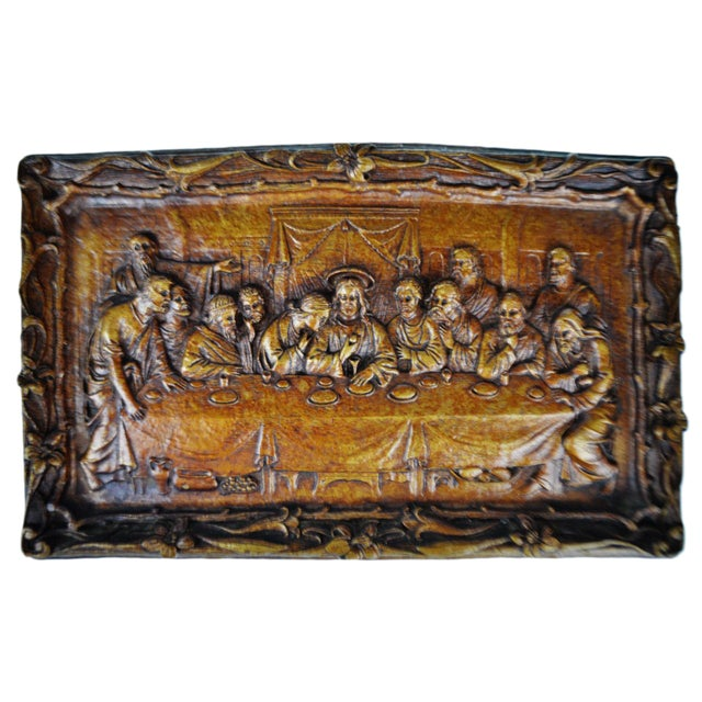 Vintage Last Supper Resin Wall Plaque For Sale