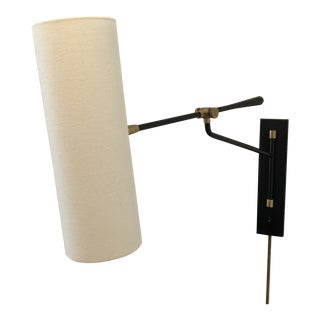 Visual Comfort Aerin Frankfort Black & Brass Articulating Wall Light For Sale