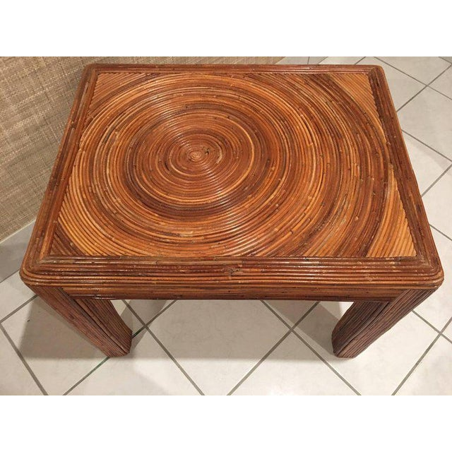 Mid 20th Century Pencil Reed Rattan Side End Table For Sale - Image 5 of 8