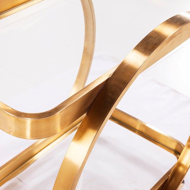 Golden Steel Glass Shelves & Rolling Caster Bar Cart - Image 4 of 4