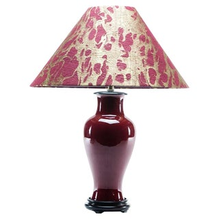 Asian Modern Lawrence & Scott Burgundy Baluster Table Lamp With Hongmu Base and Fusuma Paper Gold Shade For Sale