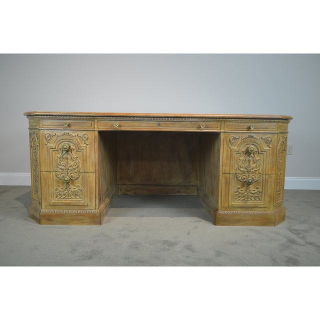 1960s French Rococo Style Custom Quality Carved Executive Desk For Sale - Image 5 of 12