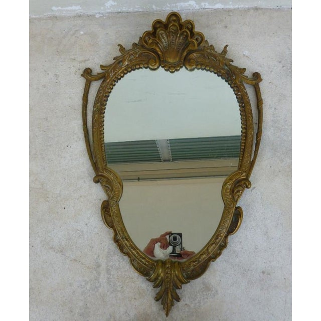Metal Late 20th Century Vintage Shell Scrolled Top Bronze Mirror For Sale - Image 7 of 7