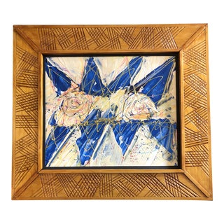 Original Contemporary Outsider Artist Wayne Cunningham Abstract Painting Hans Made Frame For Sale