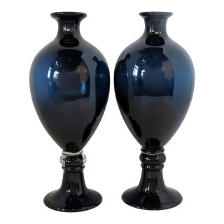 Midnight Blue Glass Urn Vases, a Pair For Sale