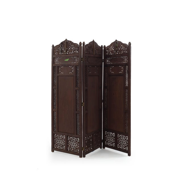 Middle Eastern Moorish style carved teak 3 fold screen with brass and copper floral design and filigree top and sides...