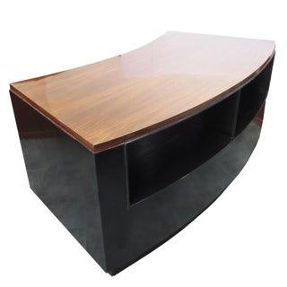 Art Deco Walnut and Black Lacquer Desk For Sale