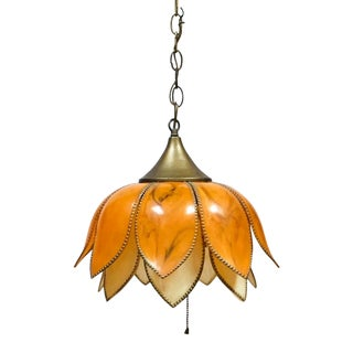 1970s Lotus Swag Pendant Hanging Light For Sale