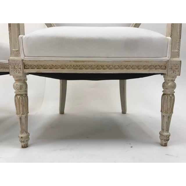 White Gustavian Chairs With Pharaoh Heads - A Pair For Sale - Image 8 of 9