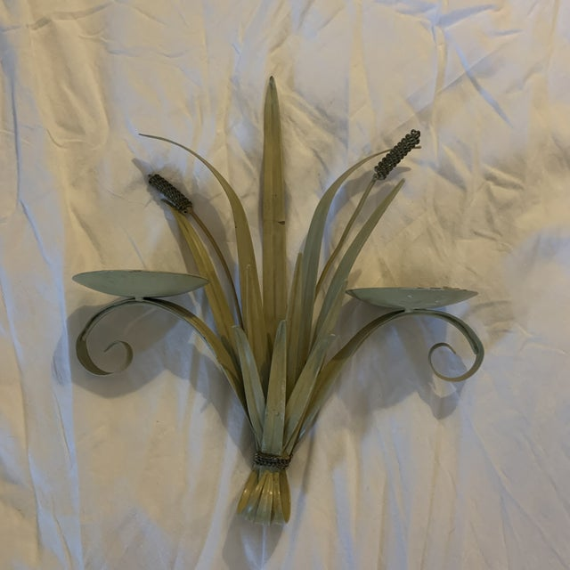 Late 20th Century Tole Candelabras - a Pair For Sale - Image 4 of 6