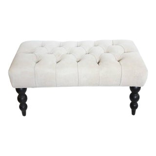 Antique Tufted Suede and Wood Bench For Sale