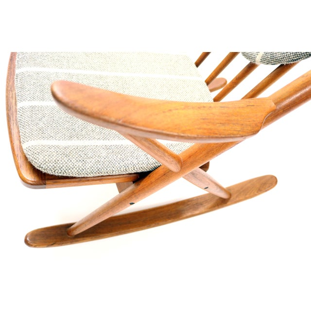 Brown Vintage Frank Reenskaug for Bramin Mobler Danish Teak Rocking Chair For Sale - Image 8 of 12