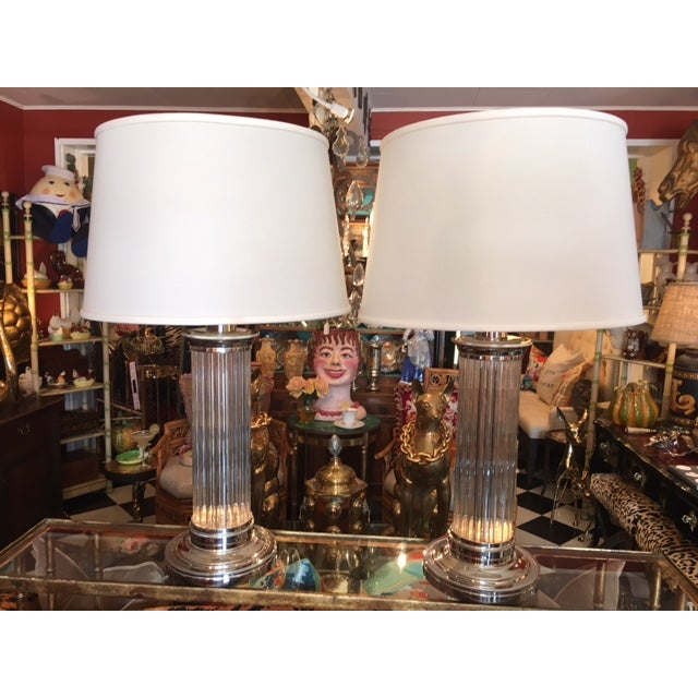 """Gorgeous Robert Abbey Lamps. Cylinder Lamps made with chrome and glass. In excellent condition. 17"""" Robert Abbey shades..."""