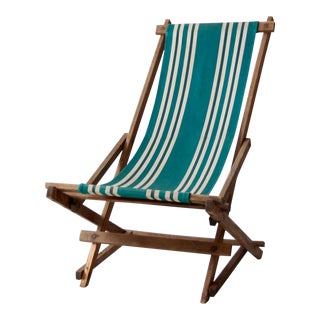 Vintage Striped Deck Chair For Sale