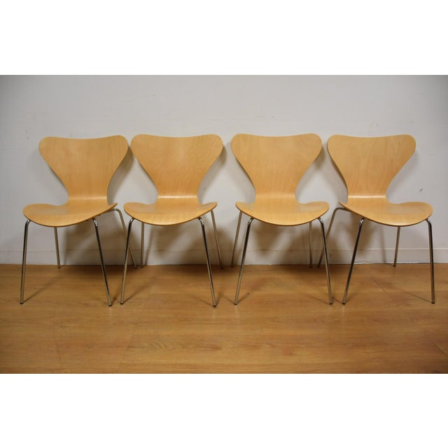 Arne Jacobsen Style Birch Dining Chairs - Set of 4 - Image 2 of 11
