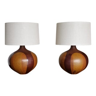 "1970s Mid-Century Modern David Cressey ""Flame Glaze"" Ceramic Lamps - a Pair For Sale"