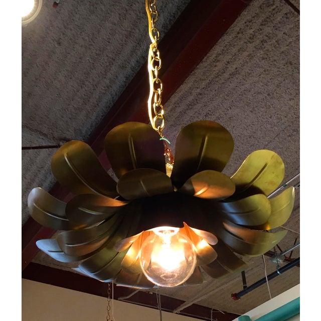 "Pair of Feldman Brass ""Lotus"" Pendant Chandeliers - Image 2 of 6"