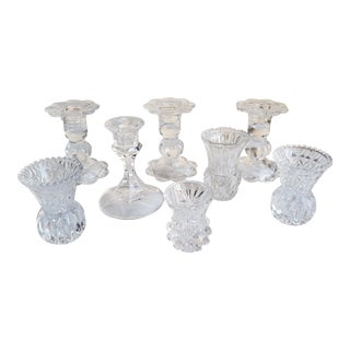 Vinage Mixed Glass Candleholders - Set of 8 For Sale