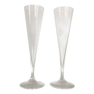 Pair of Vintage Hand Blown Tall Tapered Crystal Champagne Flutes For Sale