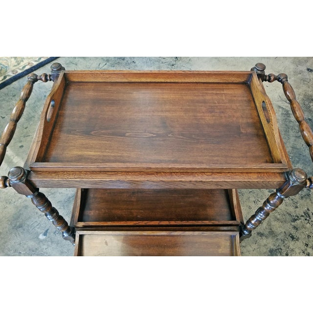 Wood 19c British Provincial Oak Butlers Tray Stand With 3 Trays For Sale - Image 7 of 13